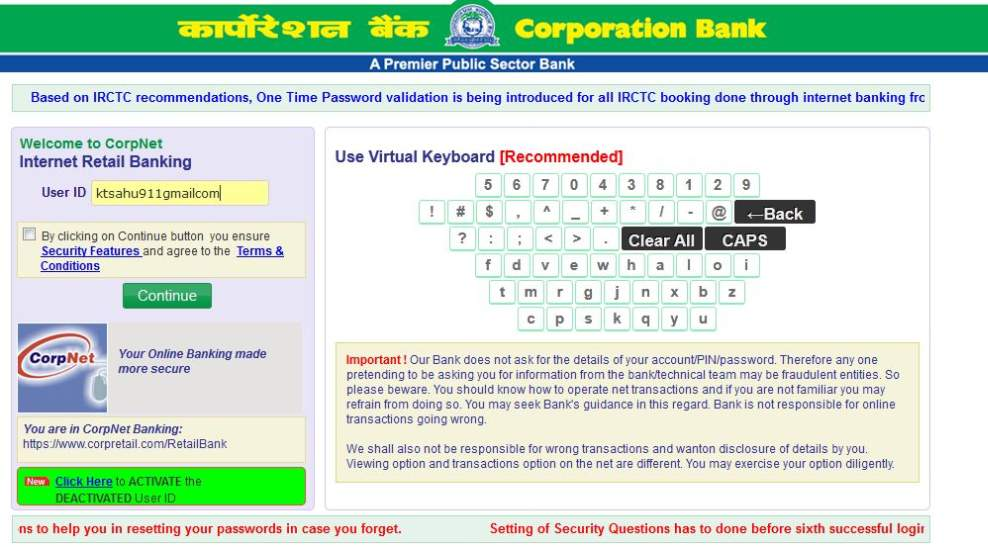 how to get online banking in corporation bank