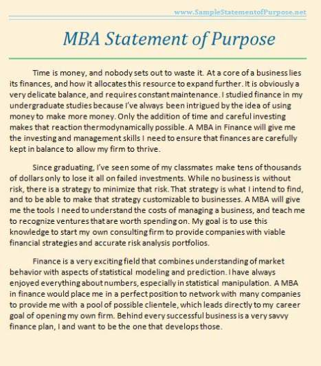 Statement Of Purpose Sample For MBA - 2017 2018 Student Forum