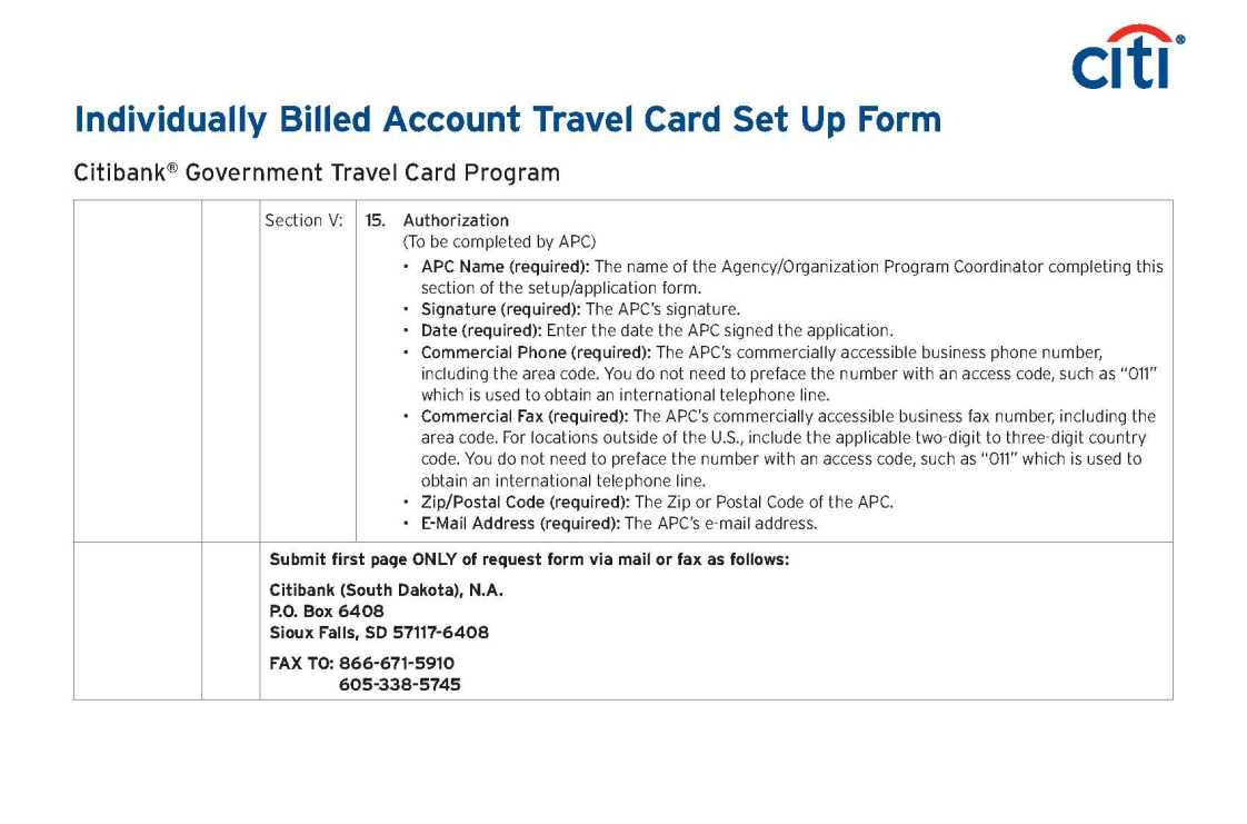 Government Travel Card Application Citibank - 2018 2019 ...