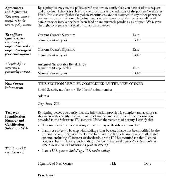 Lincoln National Life Insurance Company Change of Ownership Form ...