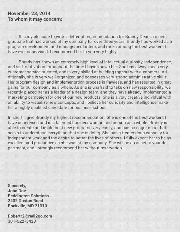 Sample Letter Of Recommendation For Business School