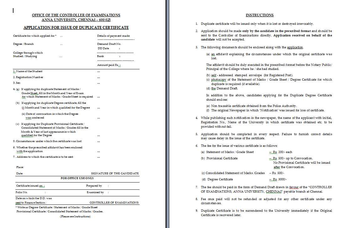Duplicate marksheet anna university coimbatore 2018 2019 student forum application form for issue duplicate mark sheet of anna university yadclub Choice Image
