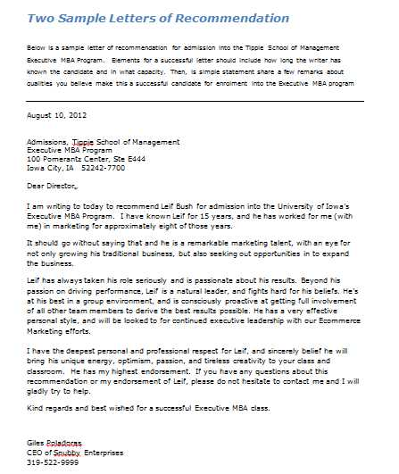 Executive mba application letter