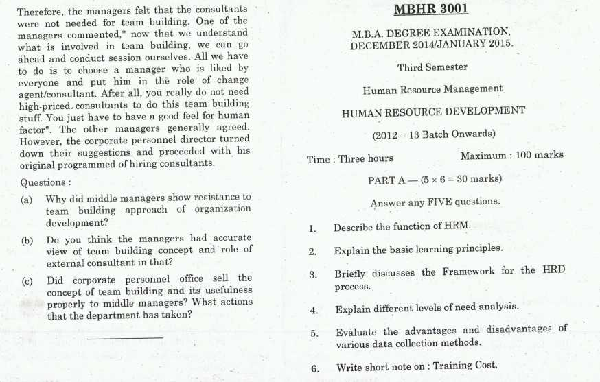 Previous years question papers for MBA HR - 2018 2019