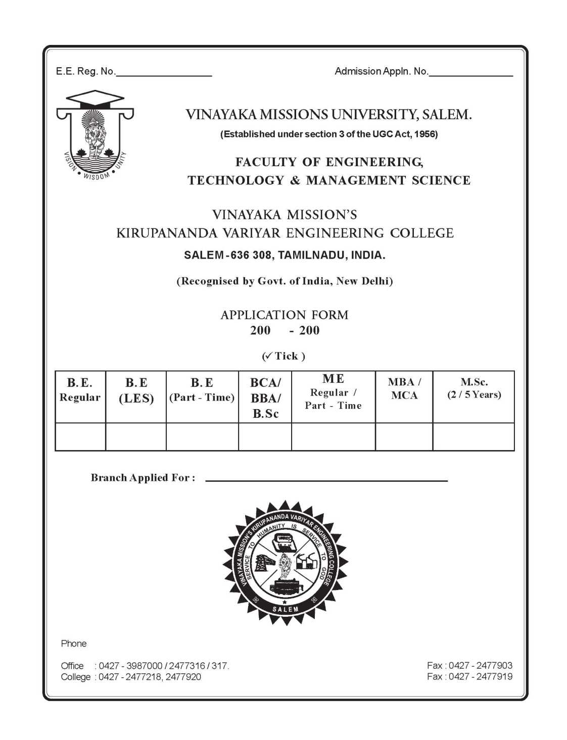 Vinayaka mission university part time be admission 2018 2019 here i am attaching a pdf file of application form yadclub Choice Image