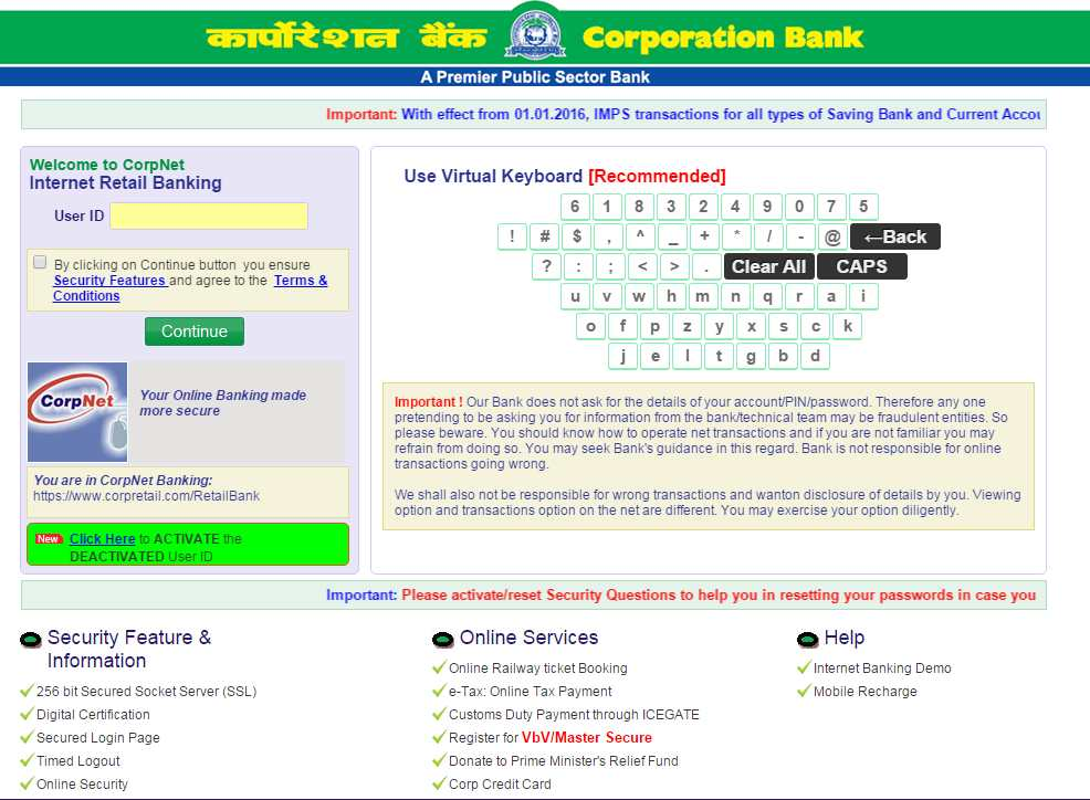 online register for internet banking in corporation bank