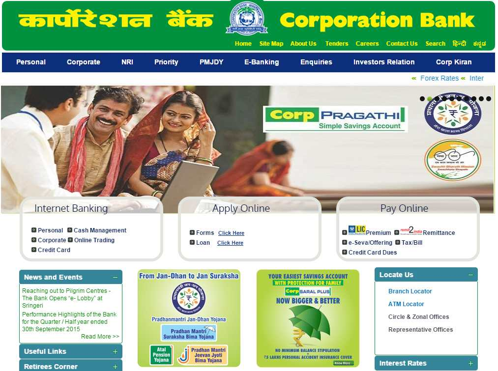 how to open internet banking in corporation bank