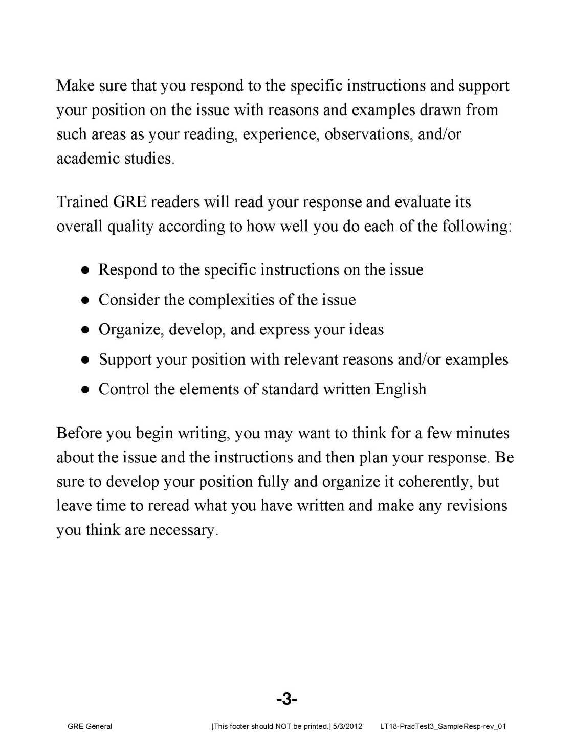gre analytical writing sample -2-the graduate record examinations® practice general test #3 analytical writing sample essays with reader commentaries the analytical writing portion of the gre.
