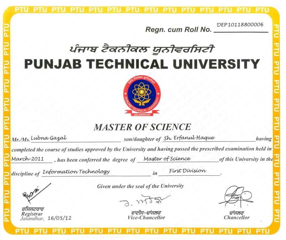 PTU Degree Certificate 2017 2018 Student Forum – Sample Graduation Certificate