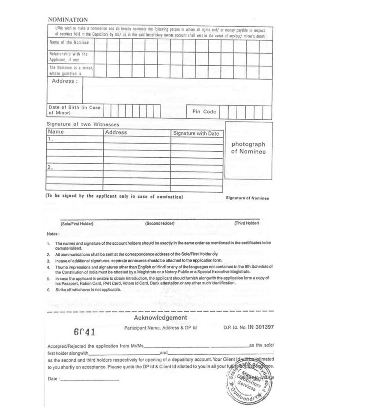 State bank of hyderabad application form for opening of demat account
