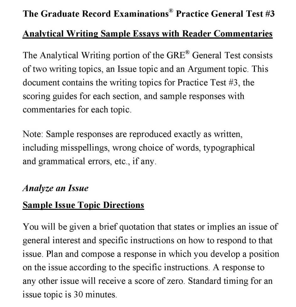 Gre issue writing samples