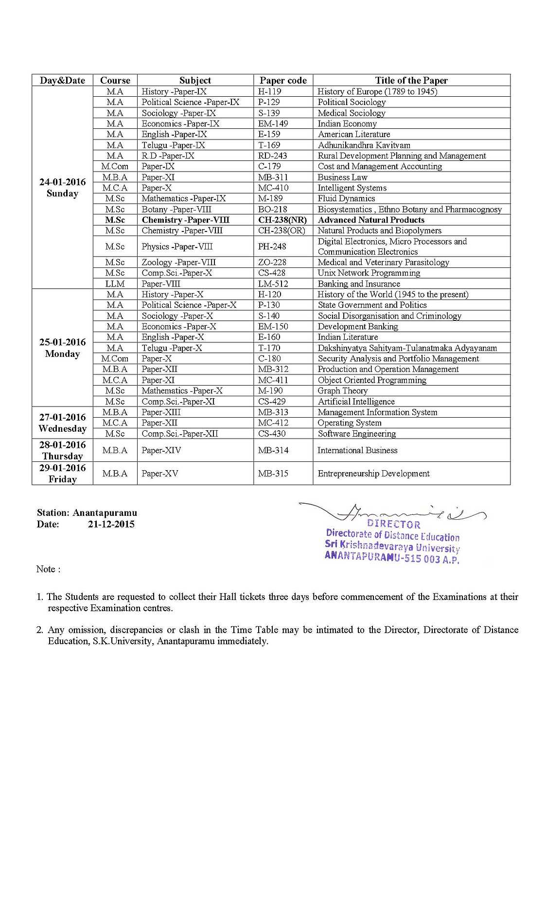 sku dde time table