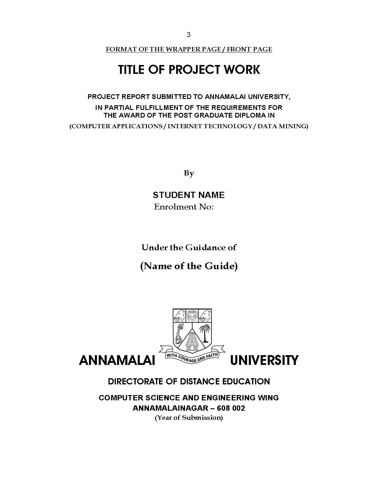 Formet Of Project Report