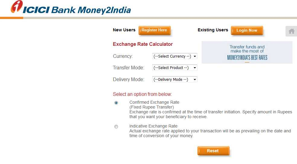 icici bank exchange rate