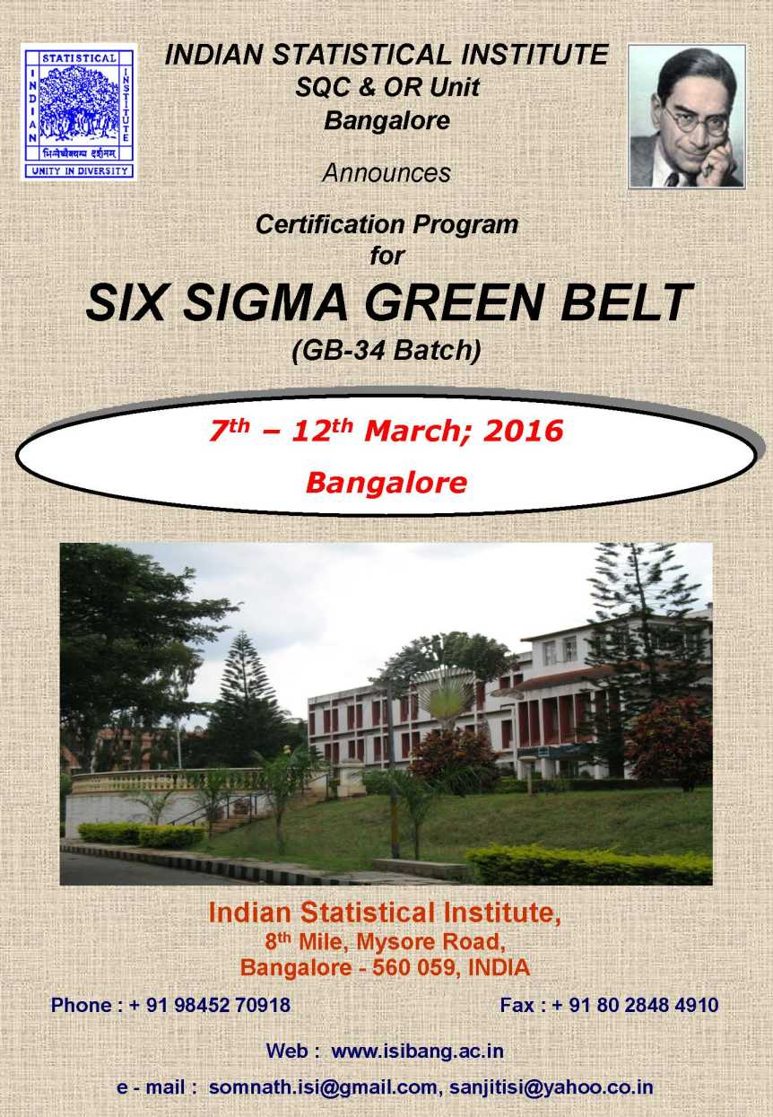 Indian statistical institute green belt 2018 2019 student forum indian statistical institute six sigma green belt programme brochure 1betcityfo Image collections