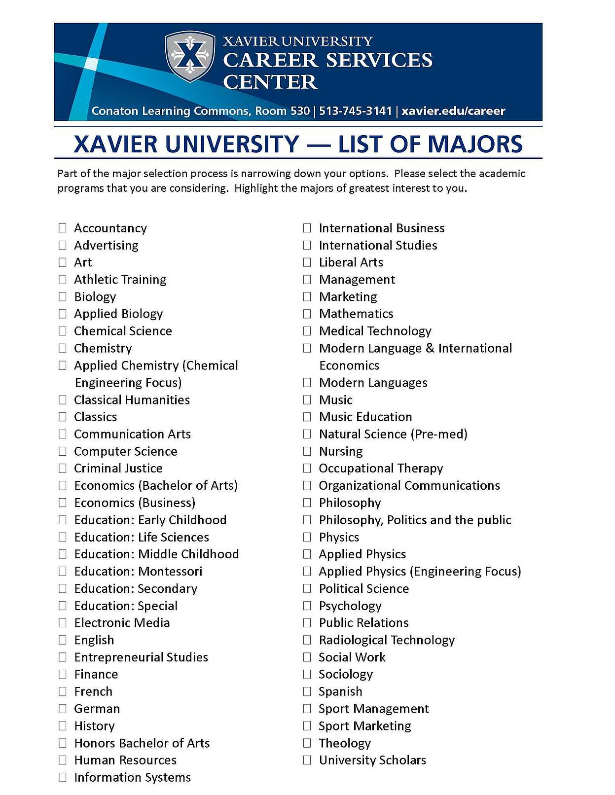 Criminal Justice list of college majors