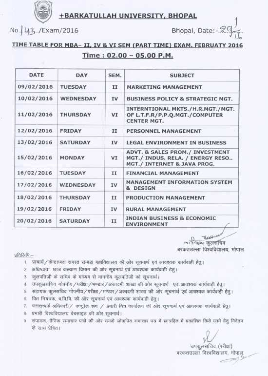 MBA Time Table BU - 2017 2018 Student Forum