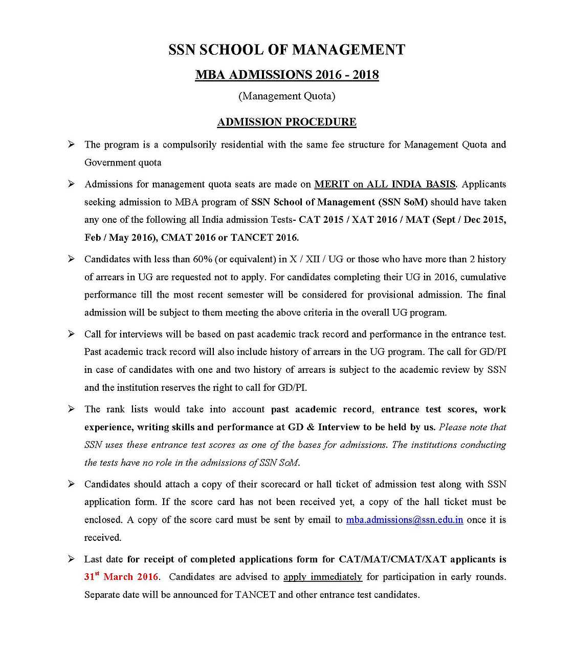 Ssn MBA application form - 2017 2018 Student Forum
