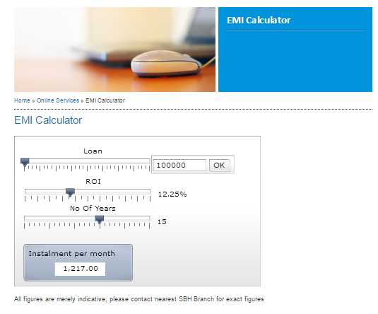 online emi calculator sbi
