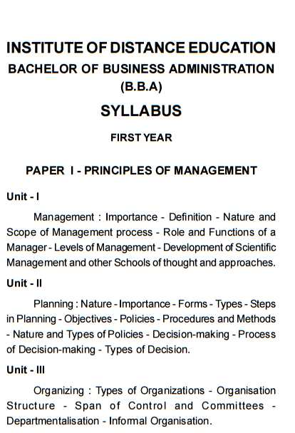 bachelor of business administration of madras