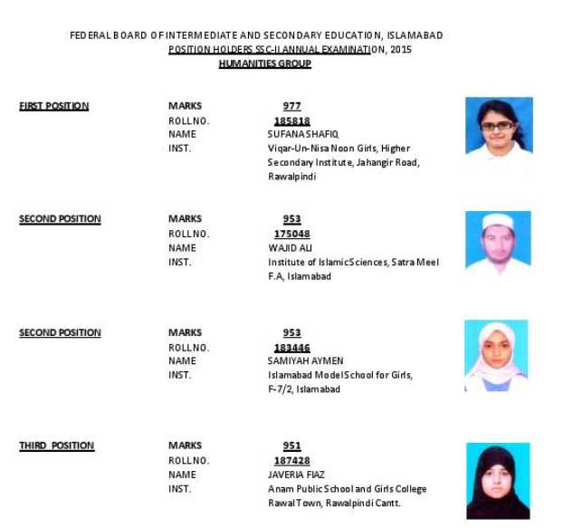 Federal Board SSC Part Two Result - 2018 2019 Student Forum