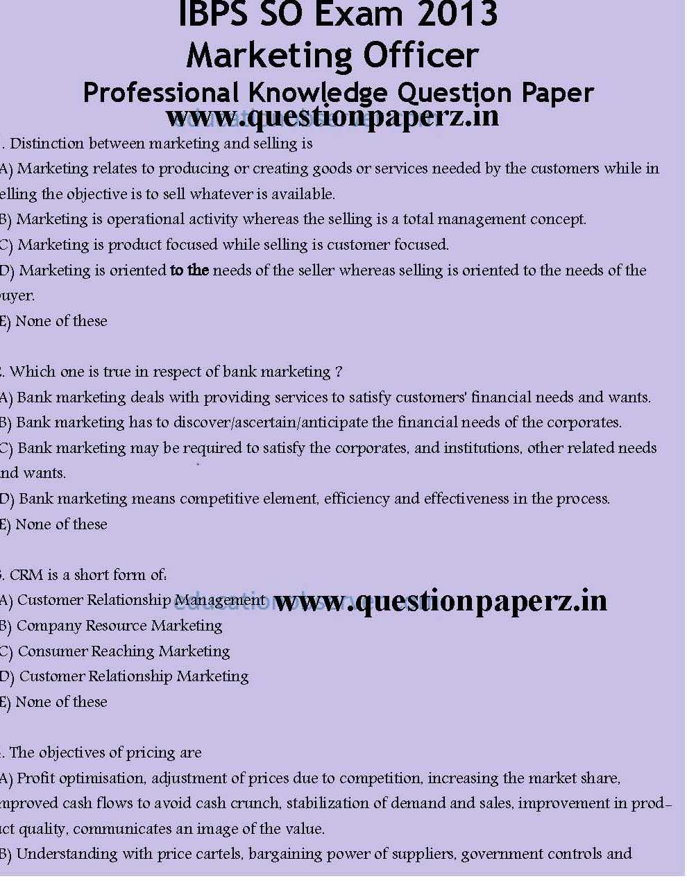 Ibps Specialist Officer Sample Question Paper Pdf