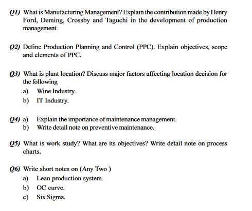 essay management operations production question Production and operations management vol 17, no 3, may-june 2008 study this question and identify conditions a multi-disciplinary perspective on operations management research production oper management 16(6.