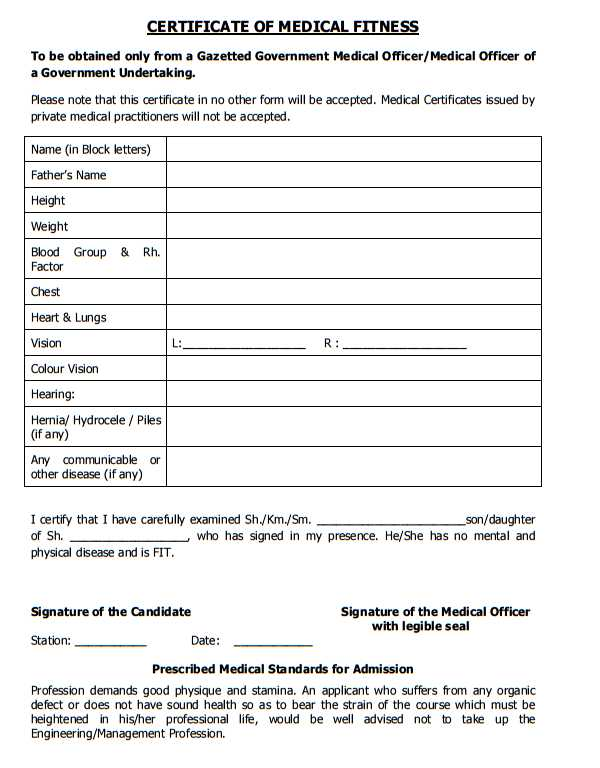 Medical Fitness Certificate Format For Tnpsc    Student Forum