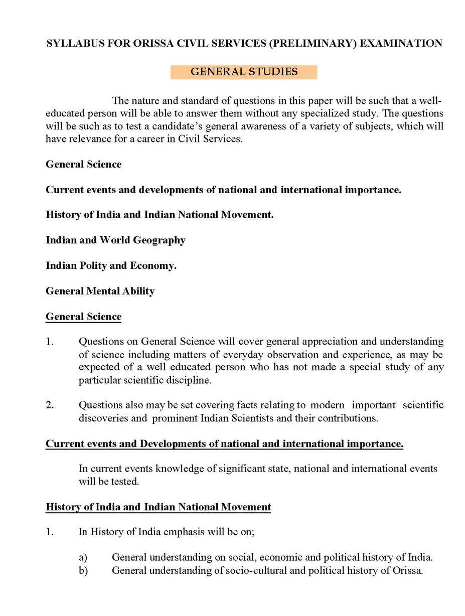 orissa public service commission syllabus student forum general mental ability the candidates will be tested on reasoning and analytical abilities