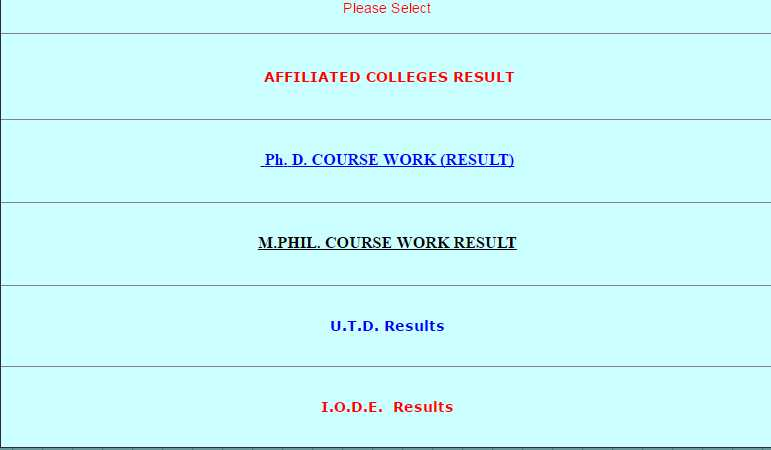 bu bhopal coursework result