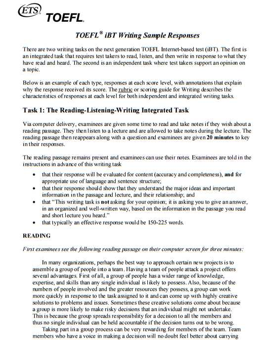 toefl speaking essays Viii - speaking and writing strategies for the toefl ib t t t preference prompt.