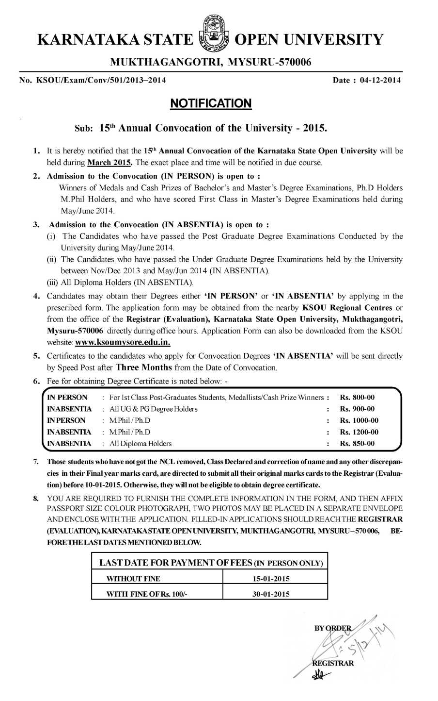 Ksou convocation 2018 2019 student forum 2015 convocation notification issued by karnataka state open university yelopaper Images