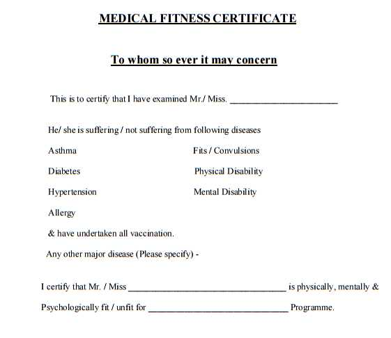 Medical Certificate Form Medical Records Certification Form Medical