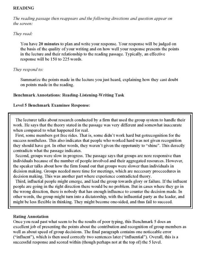 write essay in toefl exam