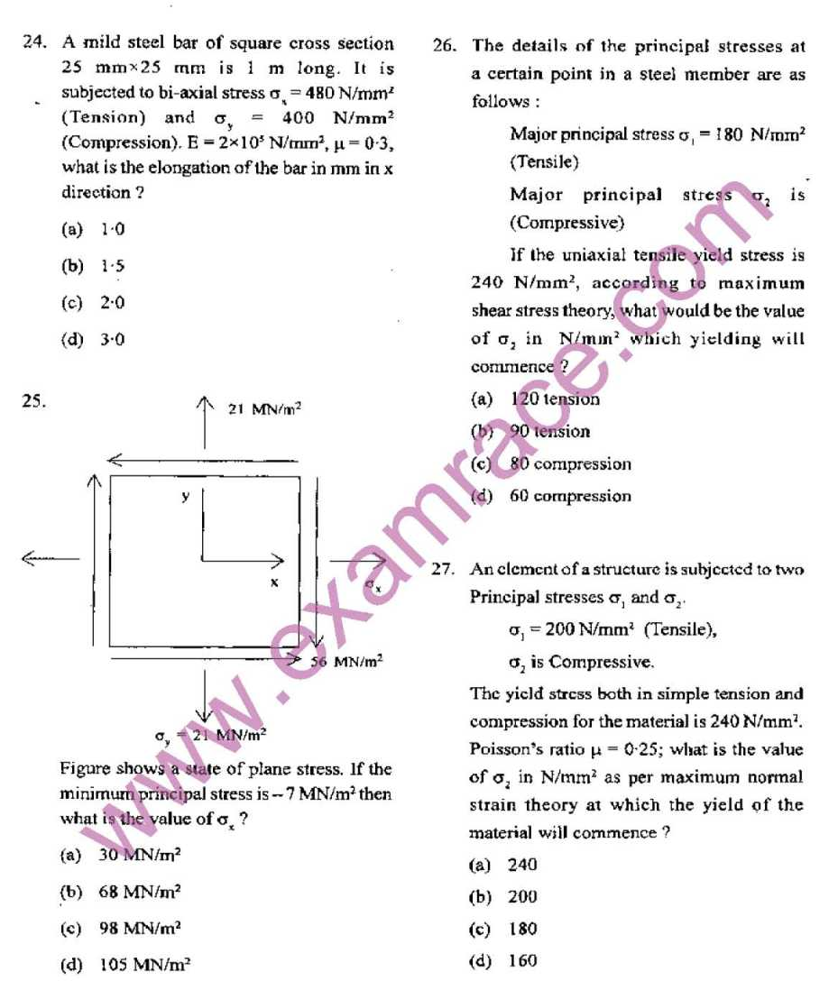 Ies exam question papers with answers for civil engineering