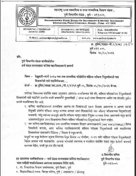 Maharashtra Board HSC External Form No 17 Applications - 2017 2018 ...