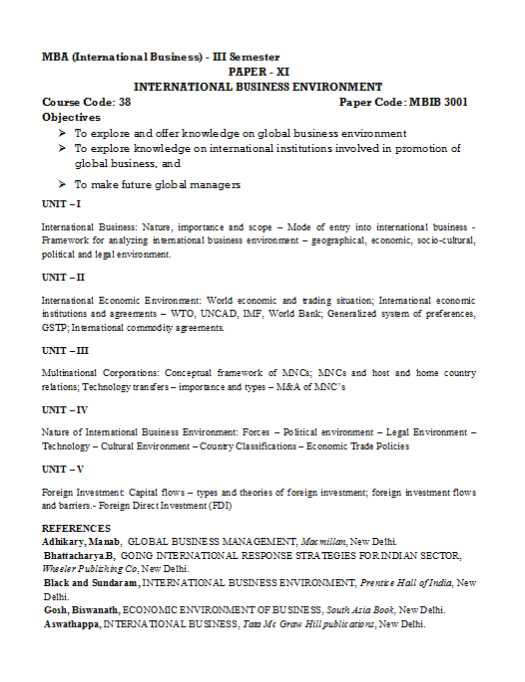 mba notes on international business student forum gosh biswanath economic environment of business south asia book new delhi aswathappa international business tata mc graw hill publications