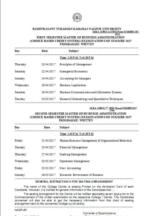 Rtmnu mba time table 2018 2019 student forum for Rtmnu time table 4th sem