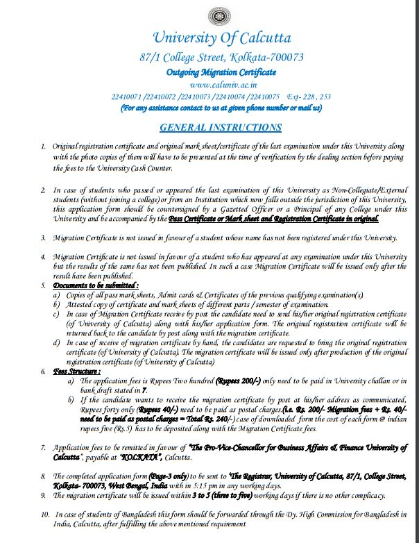 Sample certificate of calcutta university 2018 2019 student forum the application form for getting the outgoing migration certificate of university of calcutta is as follows yadclub Gallery