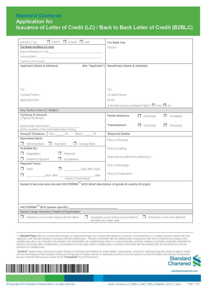 Standard chartered bank singapore lc application form 2018 2019 the application for issuance of letter of credit lc back to back letter of credit b2blc of standard chartered singapore is as follows falaconquin