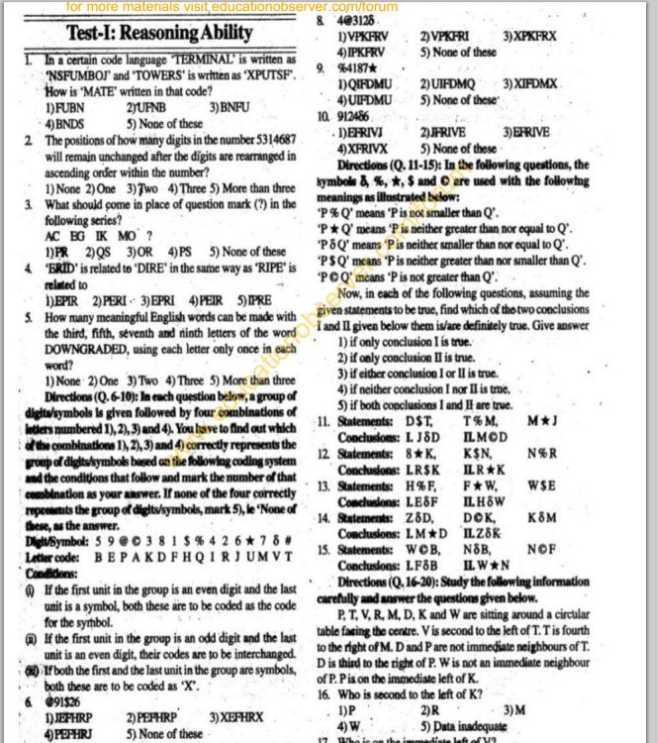 bank exam question format