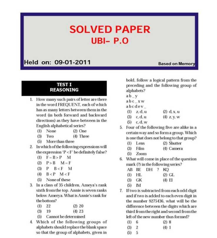 federal bank clerk previous exam papers