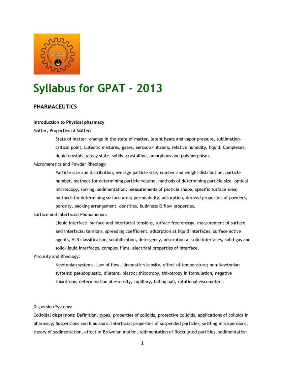 Gpat Syllabus 2015 Pdf