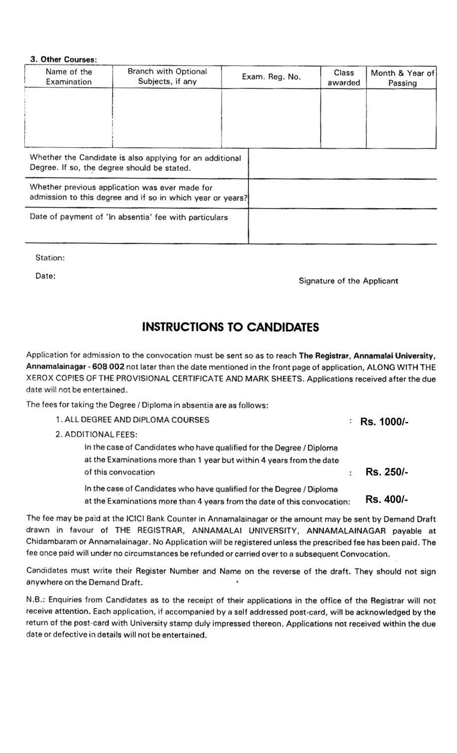 Annamalai-university-degree-certificate-form-2 Application Form For Degree Certificate Allahabad University on