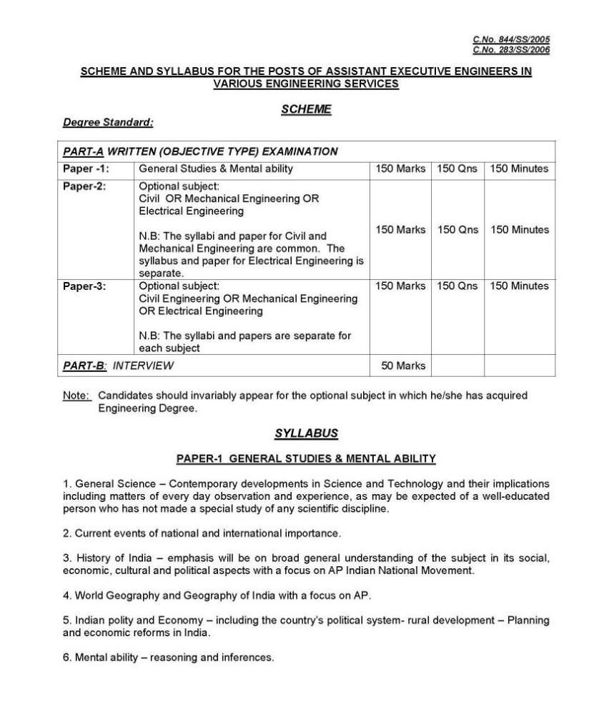 AEE Exam Syllabus for Civil Engineering - 2018 2019 Student