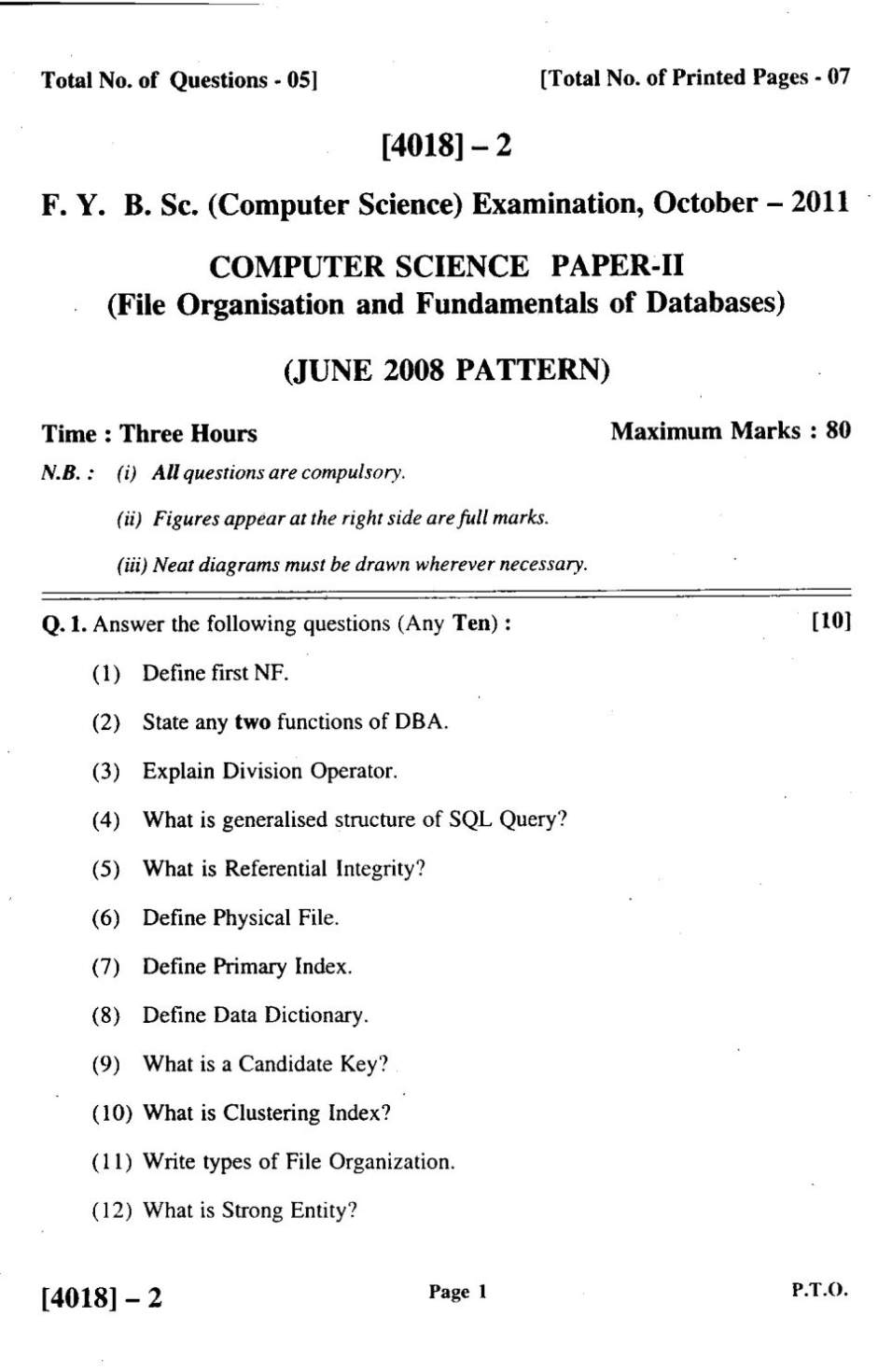 Bsc computer science question papers - 2018 2019 Student Forum