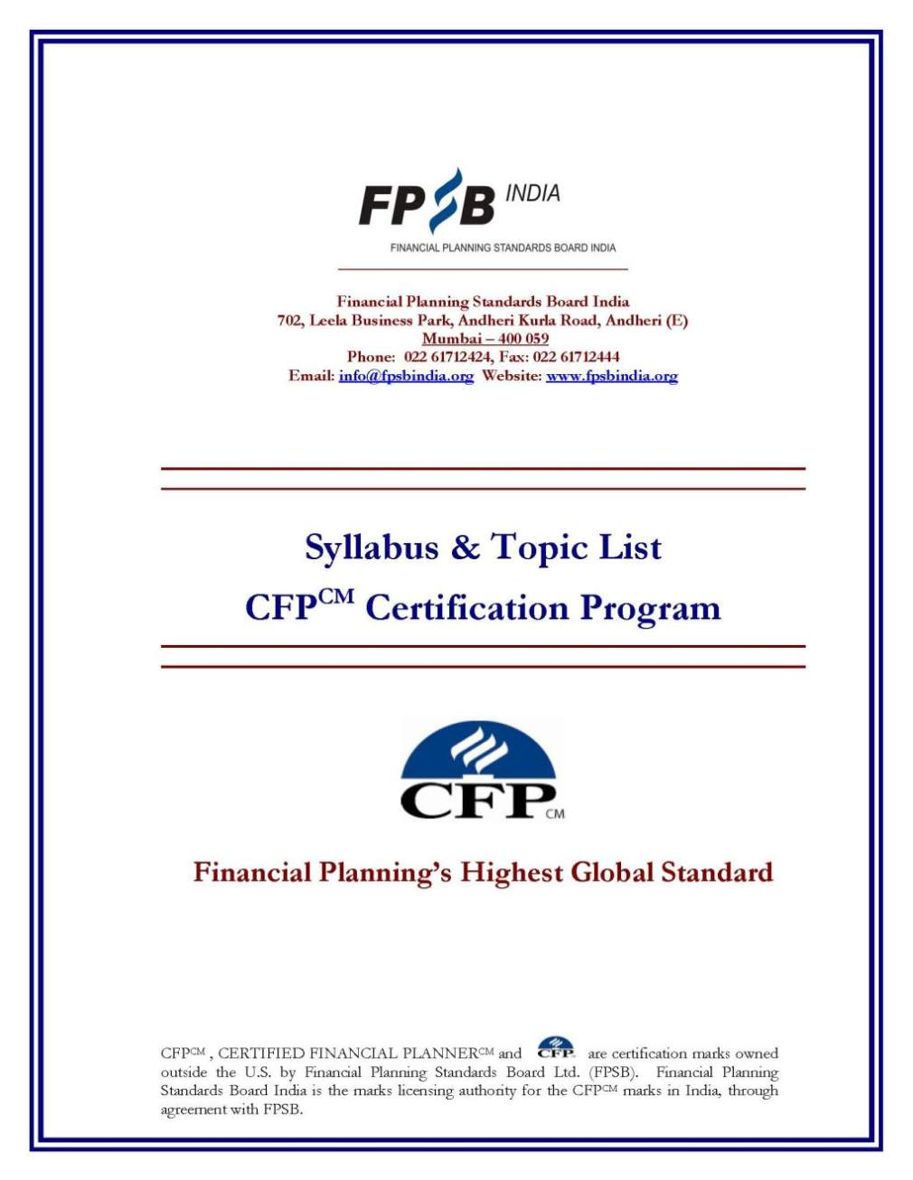 CFP course subjects - 2017 2018 Student Forum
