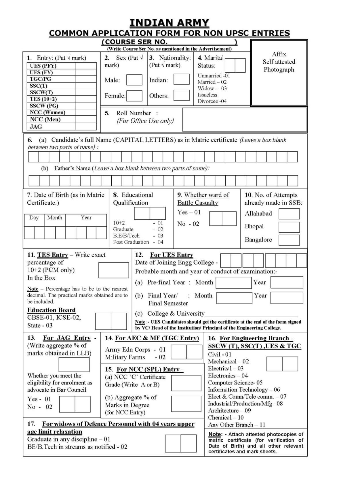 Indian Army Non UPSC Courses and Application Form 2017 2018 – Army Form