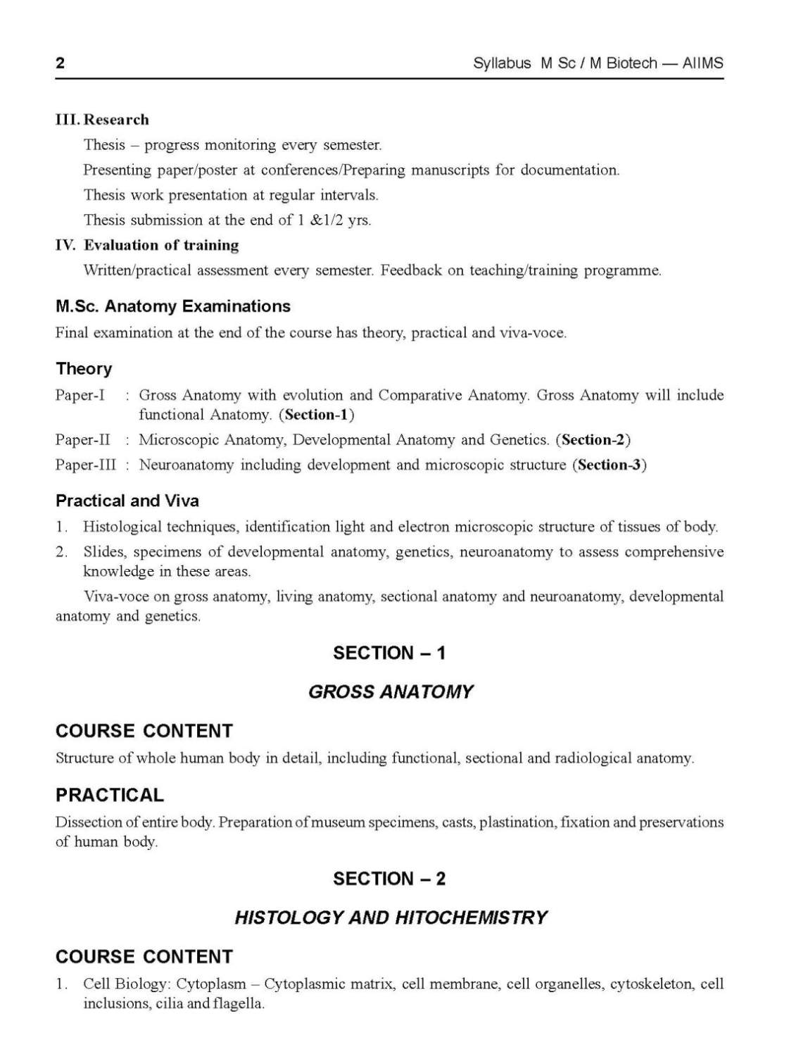 Msc Anatomy Syllabus 2018 2019 Student Forum
