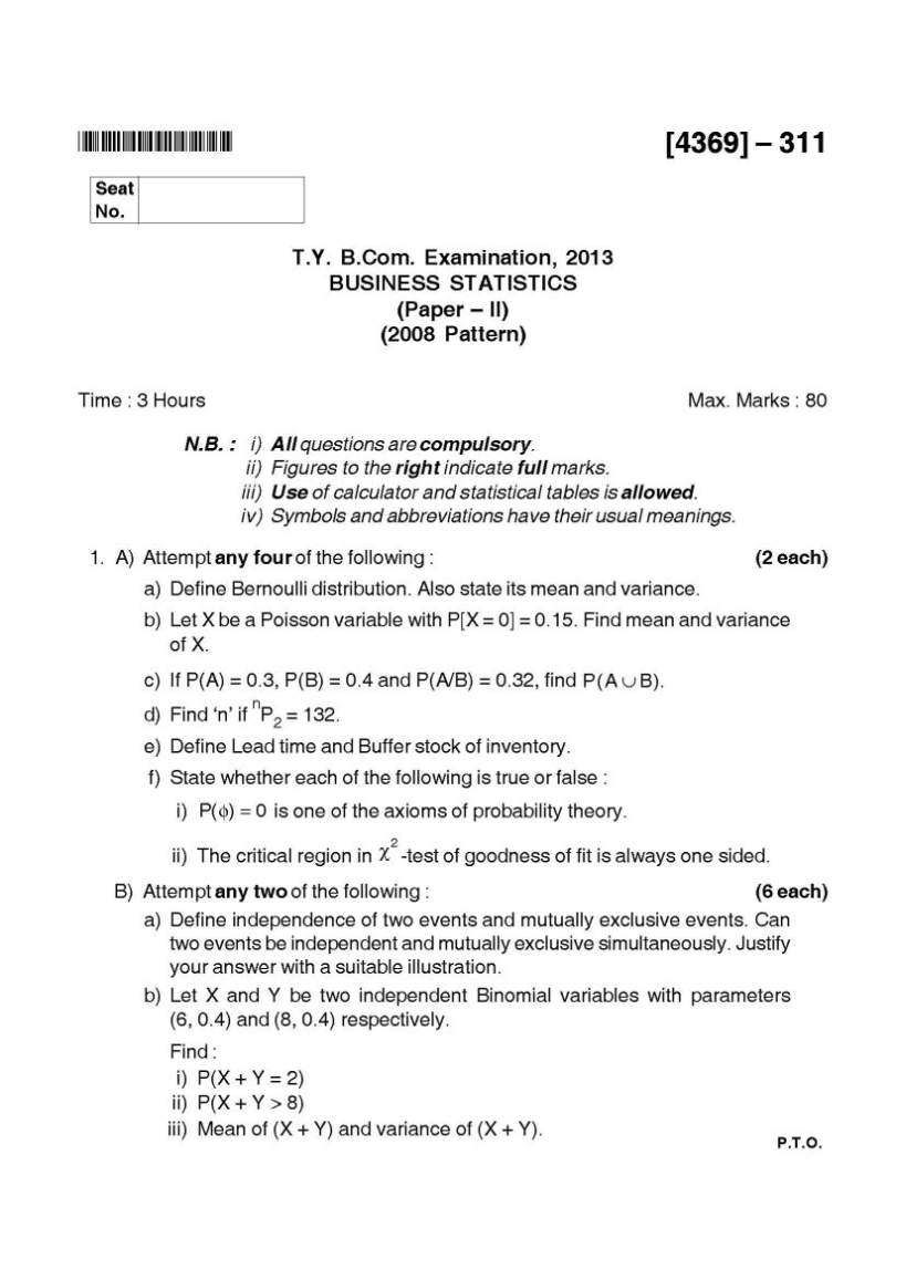 Business statistic exam paper